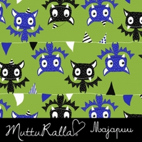 SALE - Party Bats organic jersey fabric by Majapuu Designs (half metre)