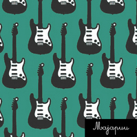 Guitars organic jersey fabric by Majapuu Designs (half metre)