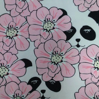 FLAWED 1 metre long Pink Peekaboo Panda organic jersey fabric by MiaMea Design
