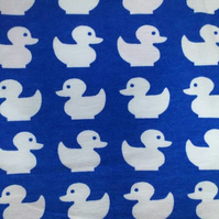 FLAWED 28cm long piece - Blue ducks organic jersey fabric by JNY Colourful Kids