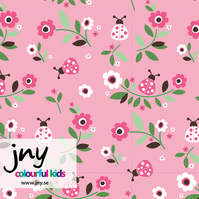 SALE - Flowers and ladybirds organic jersey fabric by JNY (half metre)
