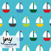 Yachts organic jersey fabric by JNY Colourful Kids (half metre)