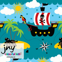 Pirate ship organic jersey fabric by JNY Colourful Kids (half metre)