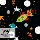 1.45m piece - Space organic jersey fabric by JNY Colourful Kids