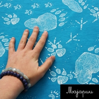 Animal tracks organic jersey fabric by Majapuu Designs (half metre)
