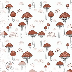 1m piece - Rusty Toadstools organic jersey fabric by Elvelyckan Design