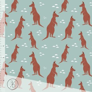 Dusty Mint Kangaroos organic jersey fabric by Elvelyckan Design (half metre)