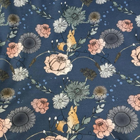 Dream Garden Blue organic jersey fabric by Lundberghuss (half metre)