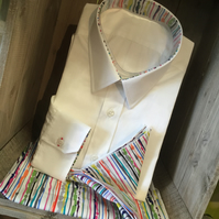 Brilliant White 100% Superfine Cotton Handmade Custom Bespoke Designer Shirt