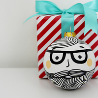 Hipster Bauble Bearded Bauble Black and White