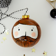 Bearded Man Christmas Bauble Ginger