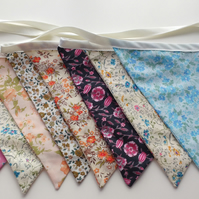 Flower, Floral Retro Print Fabric Bunting, Fabric Garland