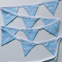Mini Bunting - Baby or Small Child's Blue Fabric Bunting