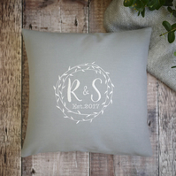 grey embroidered cushion, personalised cushion, house warming gift, wedding gift