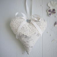 personalised grey linen heart with lace,linen anniversary gift,anniversary gift