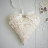personalised pink lace heart, linen anniversary gift, personalised linen gifts