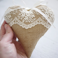 personalised hessian and lace heart, personalised wedding gift, wedding decor