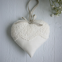wedding day gift,personalised lace and linen ivory heart,wedding present