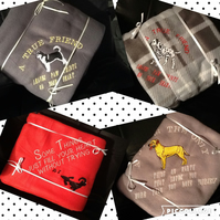 Handmade dog blankets, various phrases and embroidered dogs