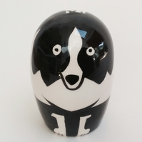Handmade pottery border collie.