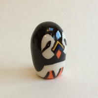 Little handmade pottery puffin.