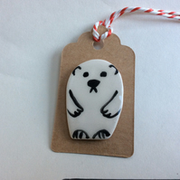 Handmade pottery polar bear brooch, gift tag.
