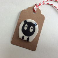 Handmade pottery sheep brooch, gift tag.