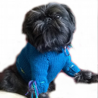 Small blue Silk trimmed dog sweater