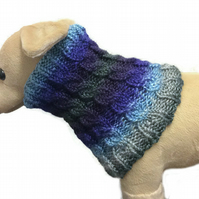 Blue cabled greyhound cowl scarf