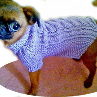 Tiny Cable knit Dog Coat Made to Measure
