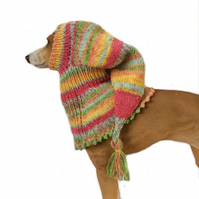 Green and red Greyhound snood hat