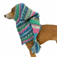 Pink and blue Lurcher Dog snood hat