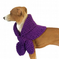 Small Sparkling Purple Keyhole Scarf for a dog