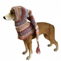 Brown and Lilac Small Greyhound pixie snood hat