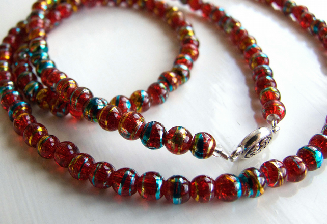 Gilded Red Glass Bead Necklace
