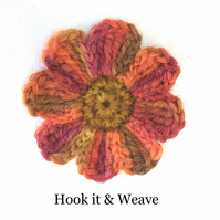 Multicoloured crochet blossom applique