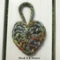 Hanging moorland colours crocheted woollen heart