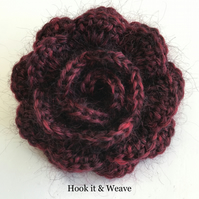 Dark red crochet blossom brooch or corsage