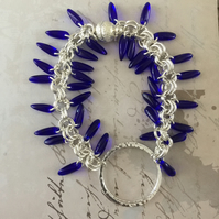 Cobalt blue Czech glass beaded bracelet