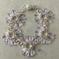 Lilac & frosted Czech glass beaded bracelet