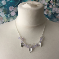 Lilac & clear frosted bud and leaf necklace