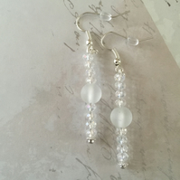 Frosted and clear faceted beaded dangle earrings