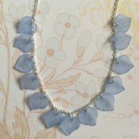 Blue lucite leaf necklace