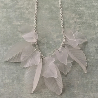 Frosted lucite leaf necklace
