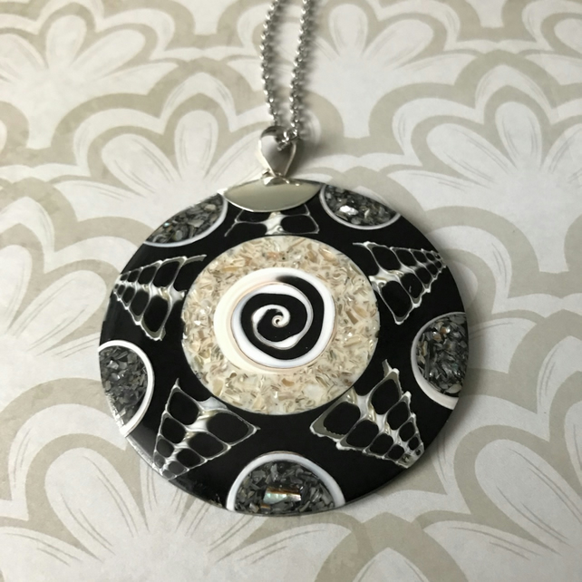 Spider Shell & Black Resin Pendant