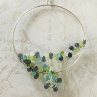 Hoop & Vine Statement Pendant Necklace