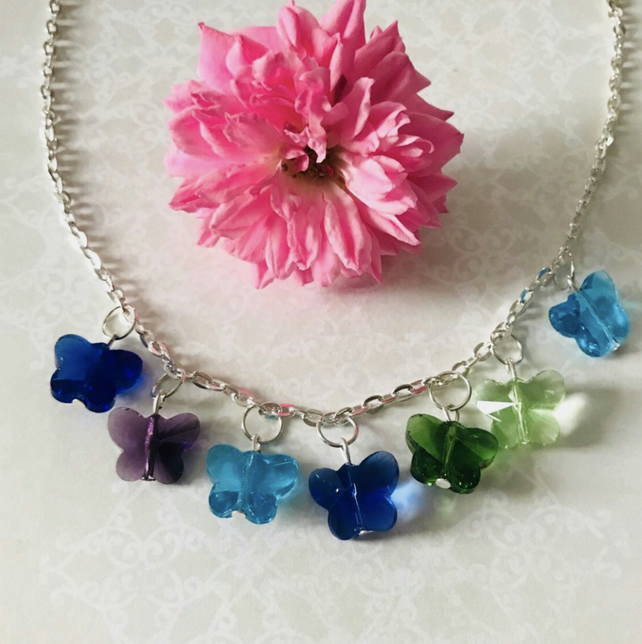 Butterfly gem necklace