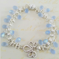 Cinderella blue Czech glass bracelet