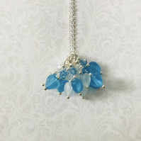 Swarovski clear frosted & aqua blue heart pendant
