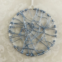 Statement Blue Wire Pendant Necklace